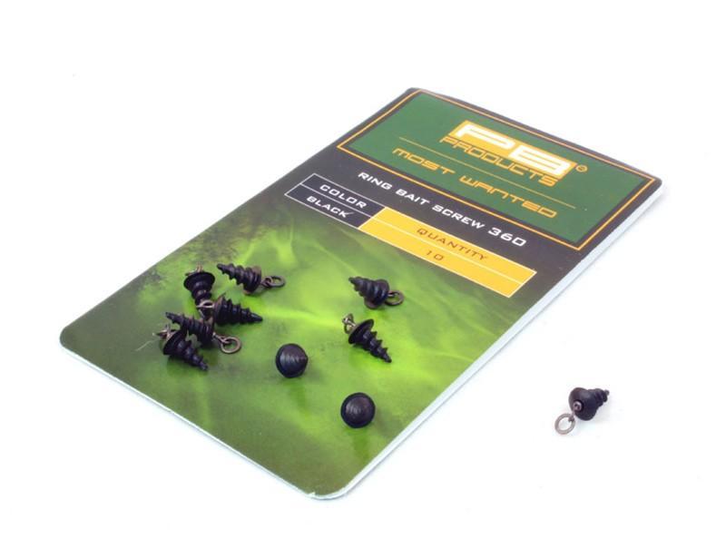 PB Products Ring Bait Screw 360 - csalirögzítő karikával / fekete | CarpDoctor Leads